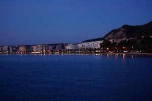 The city of Vlora, Albania, seen from the seaside at night
