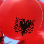 Albania flag on a balloon
